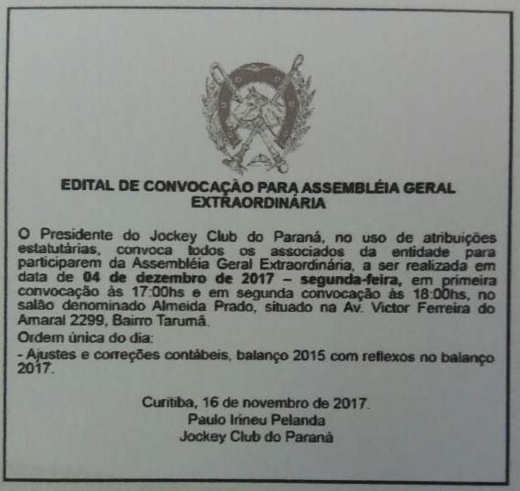 Hoje é dia de Assembleia Geral Extraordinária