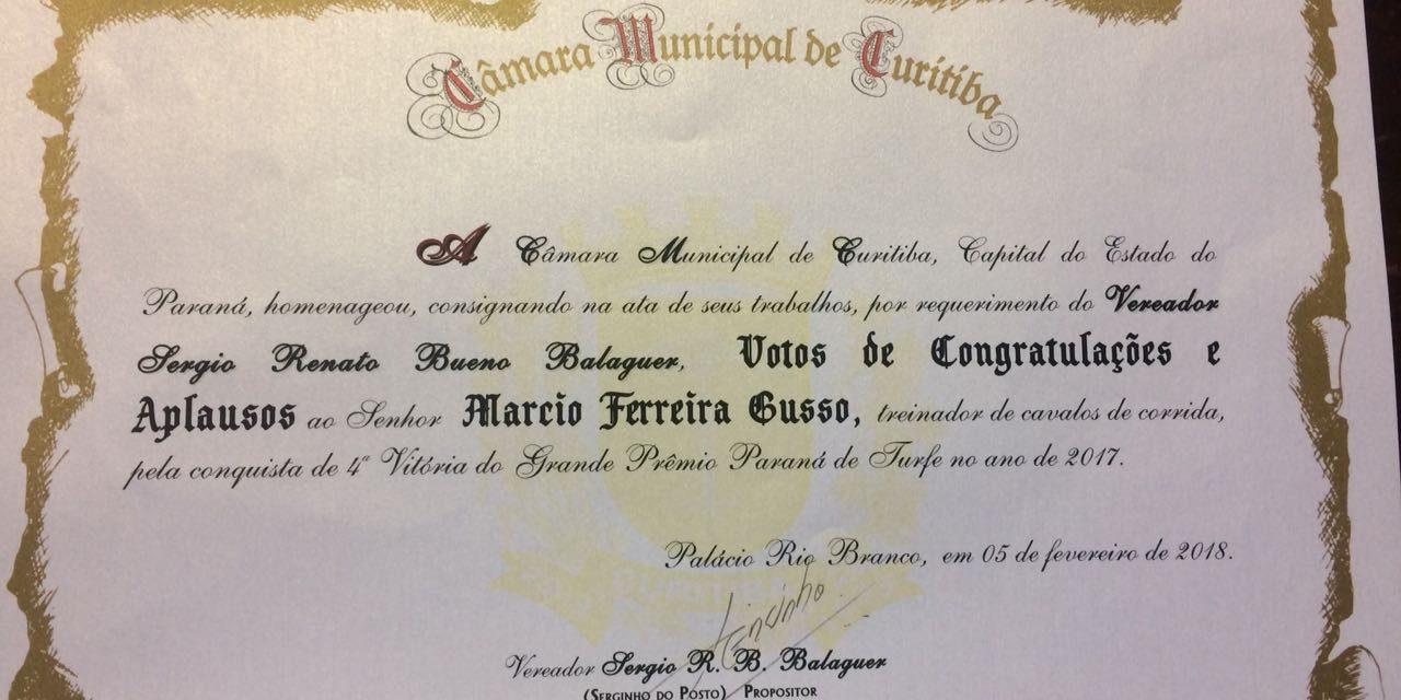 Marcio Gusso homenageado pela Câmara Municipal de Curitiba